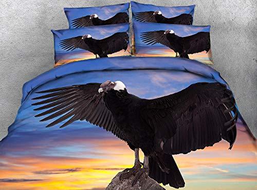 QHDXL Fundas Nórdicas Aguila Negra Juego de Cama Fundas Nordicas Funda Nórdica Suave con Cremallera, 1 Microfibra Funda Nórdica y 2 Fundas de Almohada, Funda Nordica(220x240cm)