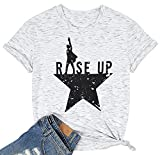 Women's Rise Up Hamilton T Shirts Young Scrappy & Hungry Graphic Musical Tees (White, X-Large)