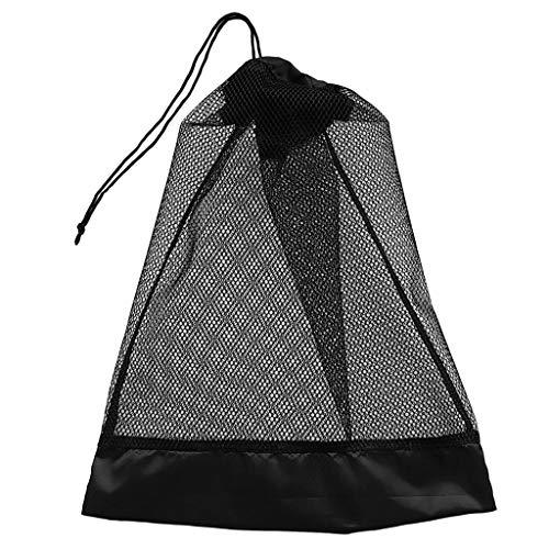 perfeclan Bolsa de Malla con Cordón Bolsa de Malla de Buceo Soporte de Almacenamiento para Deportes Acuáticos 15.5 X 12.5 '' Aletas Aletas Zapatos Máscara Sopor - Negro