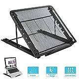 Soporte Portátil, Soporte para Computadora Plegable Cooling Ergonómico Ventilado Ligero Soporte Ajustable para Laptop Macbook Tableta Notebook(Negro)