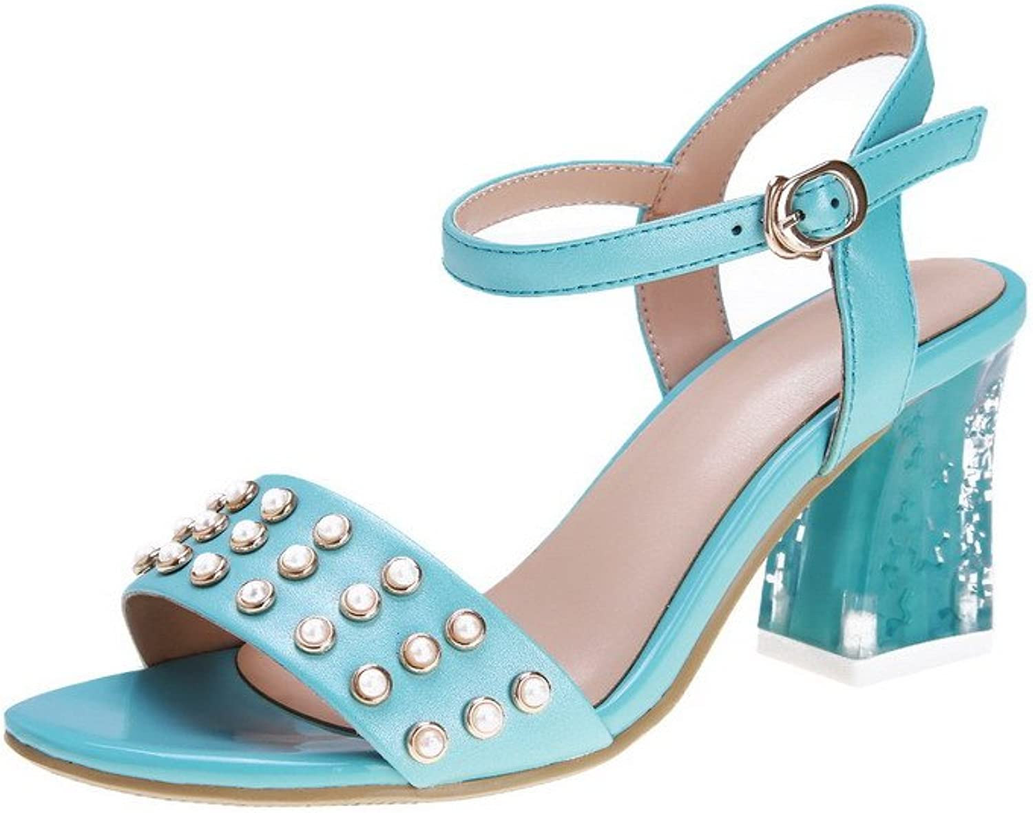 AmoonyFashion Women's Open Toe Buckle Cow Leather Solid High-Heels Sandals with Jewels