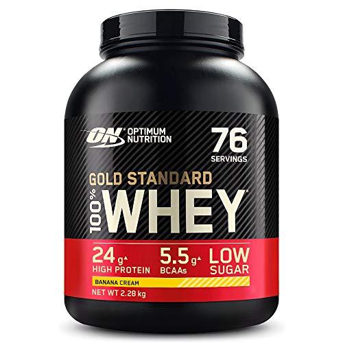 Optimum Nutrition Gold Standard 100% Whey Proteine in Polvere con Proteine Isolate, Aminoacidi e Glutammina per la Massa Muscolare, Crema di banana, 76 Porzioni, 2.28 kg