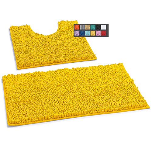 LuxUrux Bathroom Rugs Luxury Chenille 2-Piece Bath Mat Set, Soft Bath Rug +Toilet Mat.1'' Microfiber...