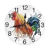 Gallo Acuarela Reloj de Pared Redondo Silencioso Sin tictac Funciona con Pilas Fácil de Leer para la Oficina del Estudiante...