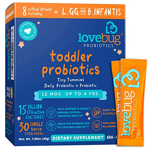 Lovebug Probiotic and Prebiotic for Kids, 15 Billion CFU, for Children 12 Months to 4 Years, Best Children's Probiotics, Contains 1 Gram Fiber, 30 Packets