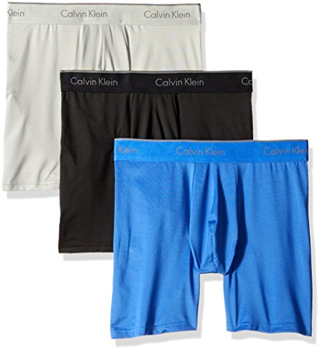 Calvin Klein Men's Microfiber Stretch Multipack Boxer Briefs, Black/Cobalt Water/Grey Heather, Large