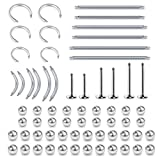 vcmart 14G 16G Replacement Balls Surgical Steel Straight Curved Barbell Lip Labret Rook Daith Eyebrow Industrial Barbell Piercing Parts