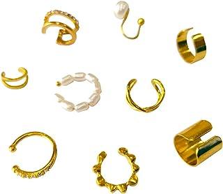 أقراط معدنية مطلية بالذهب للنساء بيرل هاغي هوب أقراط كليب على القرط الغضروف مجموعة 9 قطع لا ثقب الأذن الأساور