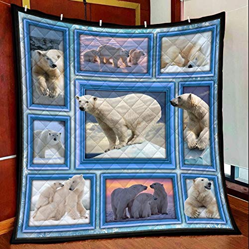 Amazing Polar Bear Quilt Blanket Outdoor Picnic Beach Blanket Twin Throw Queen King Size Bed Quilts Best Decorative for Bed, Couch, Sofa, Chair, Swing, Daybed, Home Decor