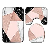FGHJSF Alfombra de baño de 3 Piezas Figuras geométricas Rosas Impresión 3D Alfombrillas de baño Set Alfombra de baño de Secado rápido, Alfombra de Contorno en Forma de U y Asiento de Inodoro
