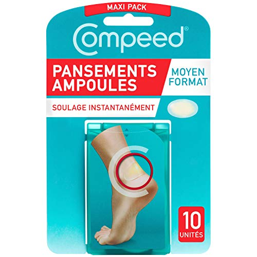 Compeed® - Pansements Ampoules - Moyen Format - 10 Pansements Hydrocolloïdes - Pansement Cicatrisation Rapide qui accélère la guérison - Soin des...