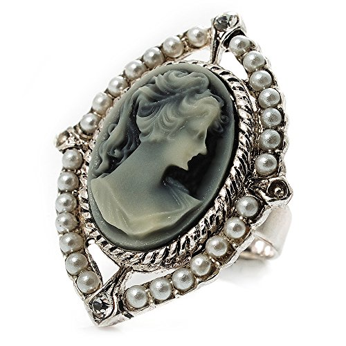 Filigraner Kamee-Ring mit Perlen-Bordüre im Vintage-Stil (Silberfarben)