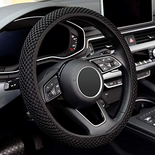 LABBYWAY Microfiber Steering Wheel Cover, Universal 15 Inch Car Elastic Stretch Steering Wheel Cover, Warm in Winter and Cool in Summer, Black