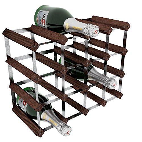 RTA - Porta-Bottiglie di Vino, 16 Posizioni, in Acciaio/Mogano, Marrone, metallo