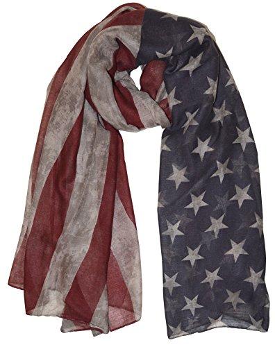 thb Richter XXL Schal Stola Amerika/USA Flagge Schals Tuch Halstuch Halstücher Tücher Stars and Stripes Sternenbanner Flagge der Vereinigten Staaten Beige