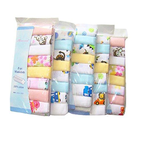 CuteOn Cotone Morbido Mussola Bambino Washcloths bambino Asciugamani, Confezione da 8, 11.8'x 11.8' 01-Ragazzo