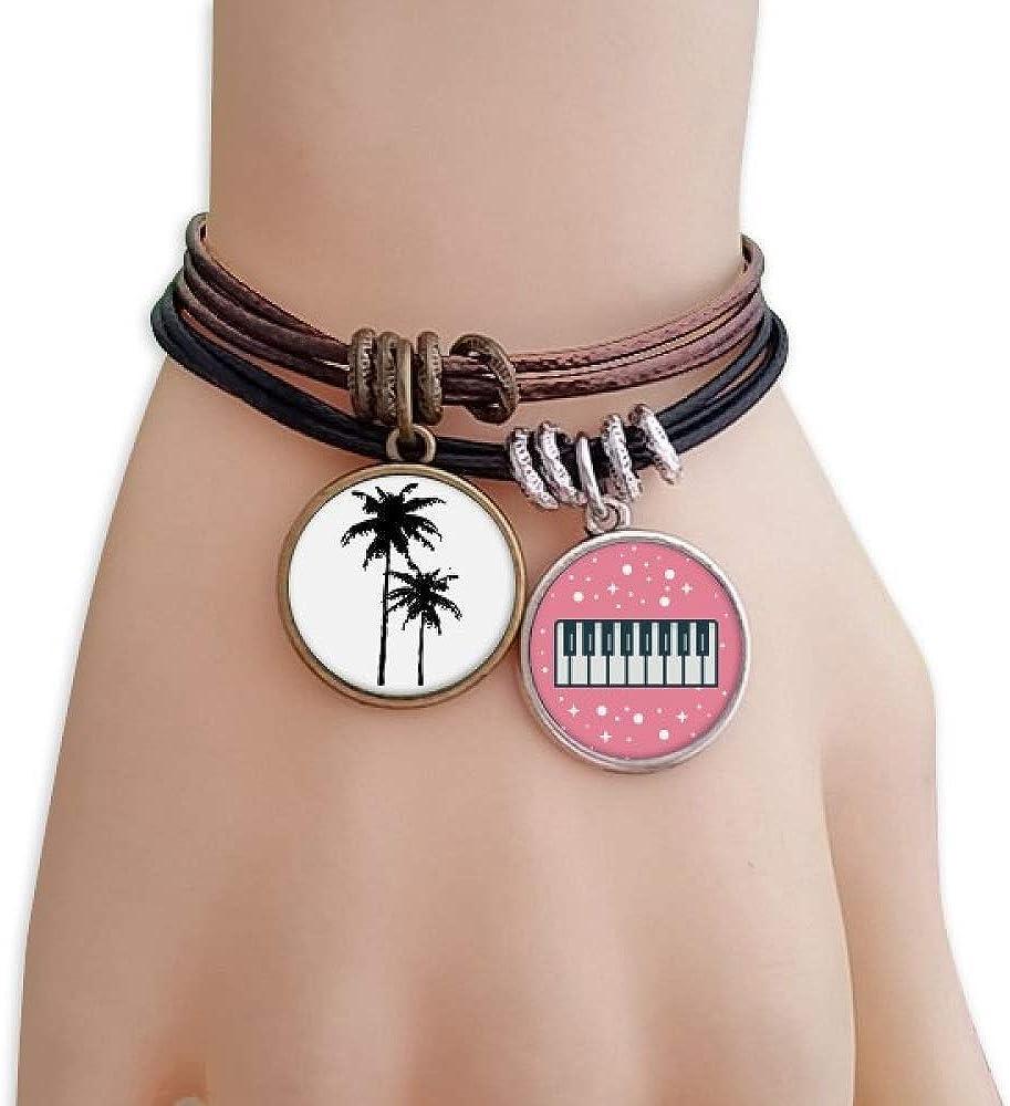 cold master DIY lab Coconut Tree Silhouette Plant Beach Bracelet Rope Wristband Piano Key Music Charm
