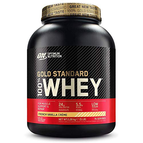 Optimum Nutrition Gold Standard Whey Muscle Building and Recovery Protein Powder With Glutamine and Amino Acids, French Vanilla Crème, 76 Servings, 2.28 kg, Packaging May Vary