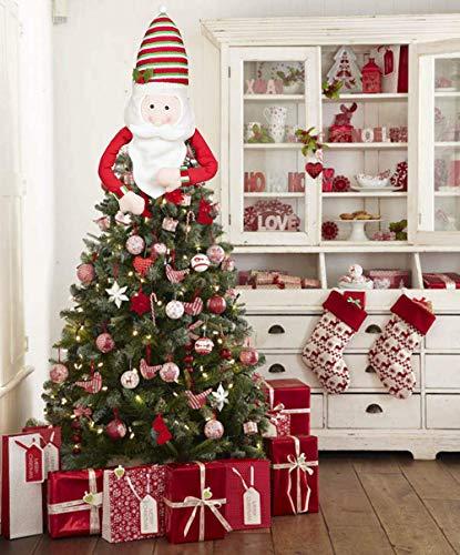 Sayala Topper Albero di Natale, Grande Babbo Natale,Pupazzo di Neve,Renna Cappello Topper Albero di Natale per Decorazioni Albero di Natale (Natale)