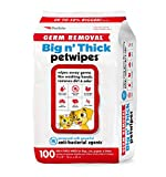 Petkin Pet Wipes – Big 'n Thick Extra Large Germ Removal Pet Wipes – Cleans Face, Ears, Body and Eye Area – Super Convenient, Ideal for Home or Travel- Wipes for Pets