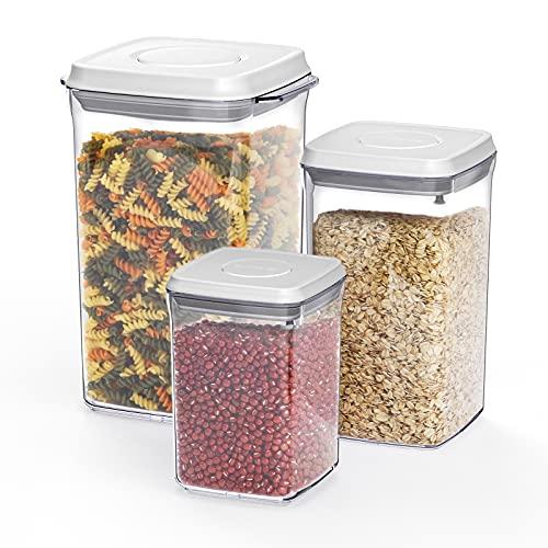 ANVAVA Juego de 3 tarros de almacenamiento con apertura de un clic, apilables, herméticos, con tapa para almacenar cereales, harina, azúcar, plástico sin BPA, certificación LFGB