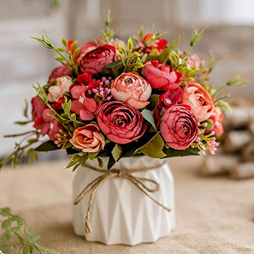 Artificial Flowers Fake Flowers Silk Rose Bouquets Decoration with Ceramics Vase for Table Home Office Wedding (Red Bud)
