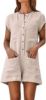 cddd0865b0a4 Women s Baggy Plus Size Overalls Cotton Linen Jumpsuits Button Down Wide  Leg Pants Casual Short Loose