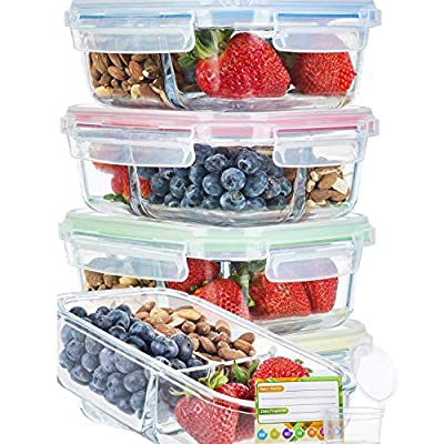 Glass Meal Prep Containers 3 Compartment Super Bundle (5-Pack With Sauce Cups & Labels) Meal Prep Glass Containers/Bento Box Containers. Microwave & Oven Safe. Bento Box Lunch Glass Container.