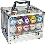 Capacity 600pcs / 1000pcs Clay Poker Chips Set con Custodia in Acrilico 14 Colori Denominatn Texas Hold'em Poker Chips 14G / PC