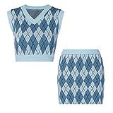 90s Vintage Plaid Knitted Sweater Vest Korean Cool Girl Striped V Neck Tank Top Y2K Knitwear-1 Set-M