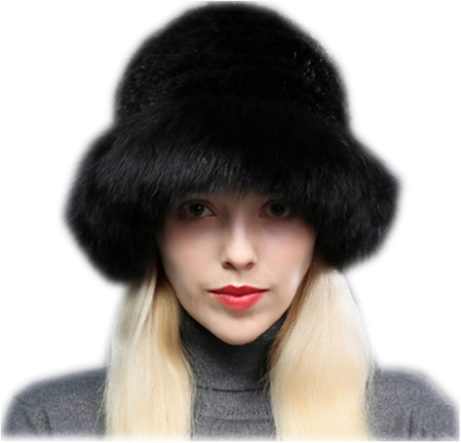 MH Bailment Womens Winter Hat Knitted Mink Real Fur Hats Fox Brim