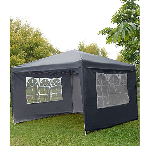 WEIBO Waterproof 2x2m Pop Up Gazebo Party Tent BBQ Canopy Outdoor Awning with Side Walls, Blue