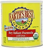 Earth's Best Organic Soy - Fórmula para bebé con hierro, bote de 59,7 ml, recién nacido, niños, niños