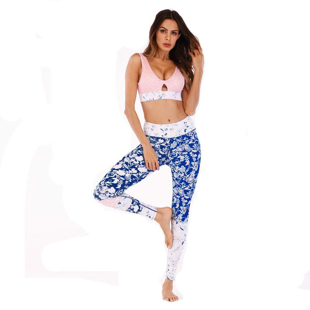 Asdflina Ropa Impresa de Yoga Traje Fitness Deportes Yoga Pantalones Camisa Ropa de Mujer Conjunto de Traje de Ropa Deportiva Transpirable (tamaño : L): Amazon.es: Hogar