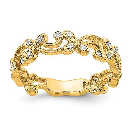 14k Yellow Gold Diamond Ring, Size 54
