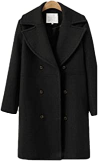 Womens Basic Mid-Long Double Breasted Wool Blend Pea Coat Outwear