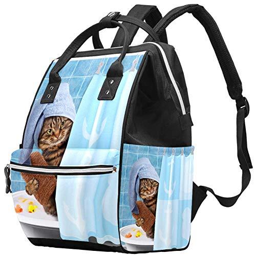 TIZORAX Fuuny Cat Prendre Un Sac À Couches De Bain Voyage Maman Sacs Nappy Sac À Dos Grande Capacité Pour Les Soins De Bébé