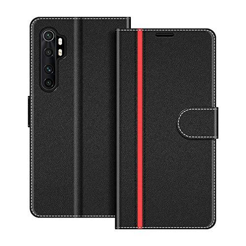 COODIO Handyhülle für Xiaomi Mi Note 10 Lite Handy Hülle, Xiaomi Mi Note 10 Lite Hülle Leder Handytasche für Xiaomi Mi Note 10 Lite Klapphülle Tasche, Schwarz/Rot