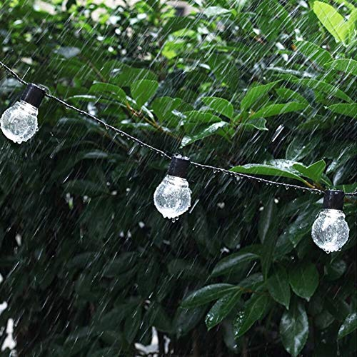 GuoQiang Zhou Guirnalda de luces LED solar para boda, guirnalda de luces LED, impermeable, para exteriores, decoración de jardín (color: blanco, tamaño: talla única)