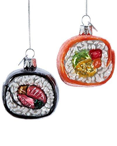 Kurt Adler Noble Gems Glass Sushi Ornament 2Pc Set