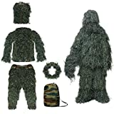 KKUYT Hunting Suit for Men and Women, 5 Pcs Woodland Camouflage Suit Kit Camo 3D Hunting Apparel for Halloween Costume, Party, Forest, Outdoor Sports, Shooting, Hunter, Sniper, Military (Green Grass)