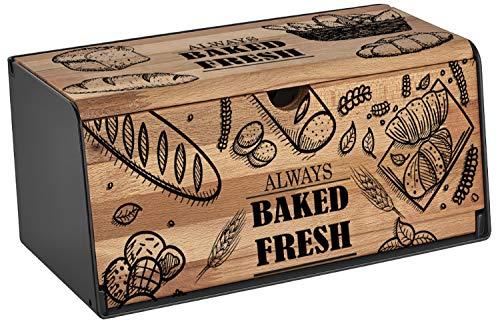 Brotkasten Holz   Brotbox   Brotkiste   Brot Aufbewahrungsbox   Brotkorb   Brotbehälter   Brotkiste   Frischhaltebox   Hochwertig verarbeitetes Holz   Großer Stauraum   2 Öffnungsmöglichkeiten