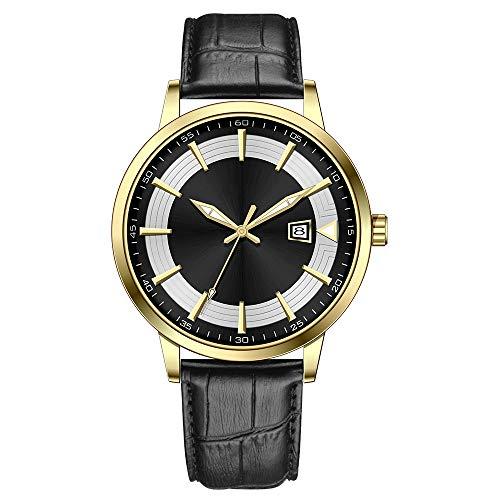 Clásico Adj Impermeable Reloj De Cuarzo Deportivo para Hombre con Diseño De Acero Inoxidable y Personalidad De con Pulsera De Malla (Gold-Black-Leather)