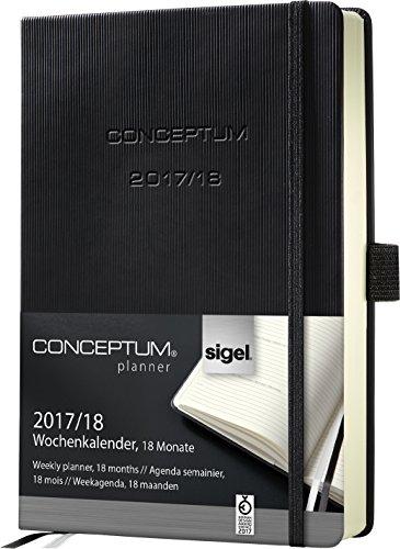 Sigel C1802 Wochenkalender 2017/2018, 18 Monate, ca. A6, schwarz, CONCEPTUM - auch in A5
