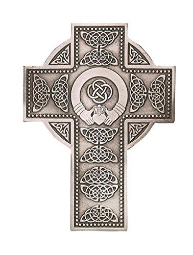 Fine Pewter Irish Celtic Claddagh Wall Cross, 5 1/4 Inch