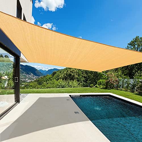 Cisvio 12' x 16' Sun Shade Sail Rectangle Canopy Durable Fabric UV Block Awning for Outdoor Patio Garden Backyard,Sand