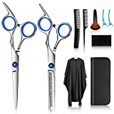 Hair Cutting Scissors Kits, 10 Pcs Stainless Steel Hairdressing Shears Set Professional Thinning Scissors For Barber/Salon/Home/Men/Women/Kids/Adults Shear Sets