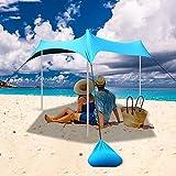 ETE ETMATE Tenda da Spiaggia,3M x 3M Tenda da Spiaggia Pop-up Protezione UV UPF50+,Dotata di stabilizzatori e Sacchi di Sabbia,Tendalino da Spiaggia per Cortile, Campeggio o Picnic in Famiglia