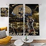 Sports House Decor Blackout Drapes, NFL New Orleans Saints Sky Helmet Retro Design Window Curtain for Living Room Bedroom Kitchen, 2Pcs Each 36' Wx63 L