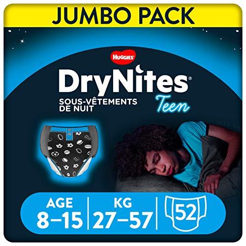 Huggies DryNites, Sous-vêtements de nuit absorbants jetables, Pour garçons, Taille: 8-15 ans, 52 culottes (4 x 13 unités)